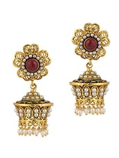 Gold Plated Jhumki Earrings Coloured Stones - Voylla