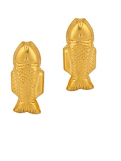 Gold Plated Studs With Fishy Charm - Voylla