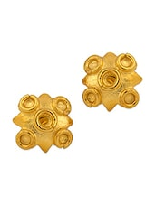 Gold Plated Studs With Geometric Design - Voylla