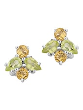 Fantastic Green And Yellow Stone Studs - Voylla