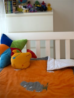 Elephant Applique Orange  Baby Quilt - Akshu