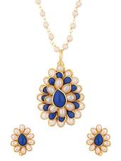 Fantastic Pendant Set Embedded With Blue Stones And Pearls - Voylla