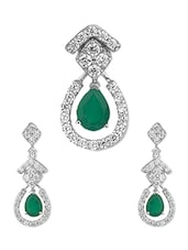 Impressive Emerald And Diamond Pendant Set In Silver - Voylla