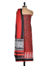 Red And Black Cotton Printed Suit Piece - Ethnic Vibe