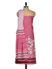 Pink And Maroon Cotton Printed Suit Piece - Ethnic Vibe