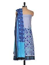 Grey And Blue Cotton Printed Suit Piece - Ethnic Vibe