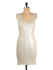 Silver Sequined V-Neck Dress - Ozel Studio