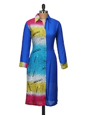 Blue Printed Full-sleeved Kurta - ARYA