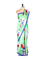 Beautiful Floral Printed Georgette Satin Saree - Saraswati