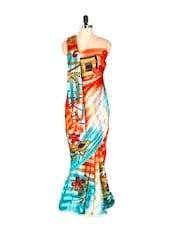 Bright Blue Printed Art Silk Saree - Saraswati