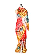 Amazing Yellow Printed Art Silk Saree - Saraswati