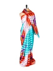 Gorgeous Blue Printed Art Silk Saree - Saraswati