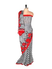 Designer Grey Printed Art Silk Saree With Red Rosette Pattern - Saraswati