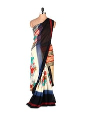 Beautiful Printed Art Silk Saree With Matching Blouse Piece - Saraswati