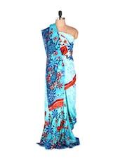 Gorgeous Blue Floral Printed Art Silk Saree With Matching Blouse Piece - Saraswati