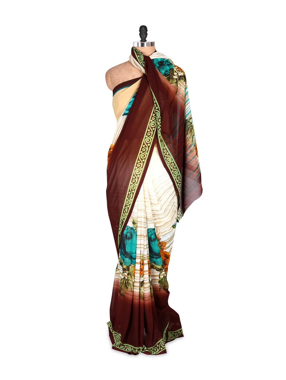 Charming Printed Art Silk Saree With Matching Blouse Piece - Saraswati
