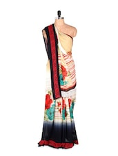 Beautiful Floral Printed Art Silk Saree With Matching Blouse Piece - Saraswati