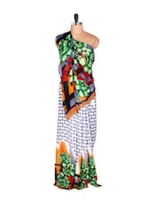 Lovely Green Floral Printed Art Silk Saree With Matching Blouse Piece - Saraswati
