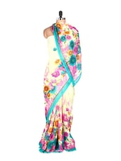Fantastic Floral Printed Art Silk Saree With Matching Blouse Piece - Saraswati