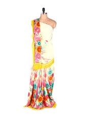 Floral Printed Art Silk Saree With Matching Blouse Piece - Saraswati