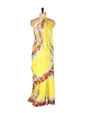Bright Yellow Printed Art Silk Saree With Matching Blouse Piece - Saraswati