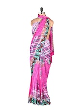 Dazzling Pink Abstract Printed Art Silk Saree With Matching Blouse Piece - Saraswati