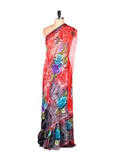 Gorgeous Red Floral Printed Art Silk Saree With Matching Blouse Piece - Saraswati