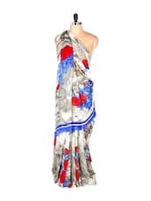 Gorgeous Grey Abstract Printed Art Silk Saree With Matching Blouse Piece - Saraswati