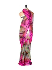 Pink Abstract Printed Art Silk Saree With Matching Blouse Piece - Saraswati