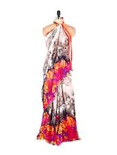 Amazing Floral Grey Printed Art Silk Saree With Matching Blouse Piece - Saraswati