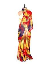 Stylish Abstract Printed Art Silk Saree With Matching Blouse Piece - Saraswati