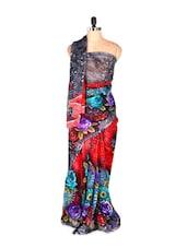 Beautiful Colourful Rosette Printed Art Silk Saree With Matching Blouse Piece - Saraswati