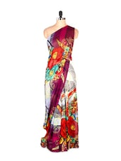Gorgeous Floral Printed Art Silk Saree With Matching Blouse Piece - Saraswati