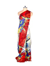 Abstract Printed Red Art Silk Saree With Matching Blouse Piece - Saraswati