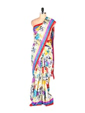 Lovely Floral Printed Art Silk Saree With Matching Blouse Piece - Saraswati