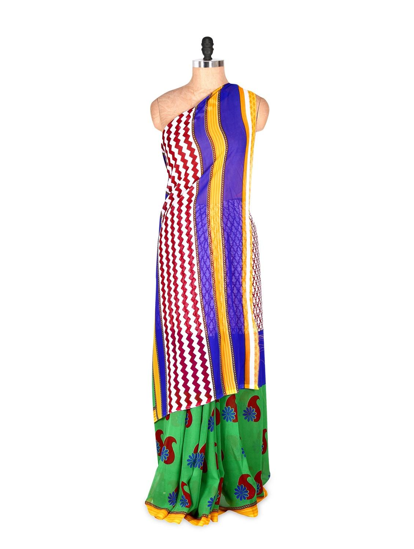 Graceful Yellow And Blue Printed Art Silk Saree With Matching Blouse Piece - Saraswati