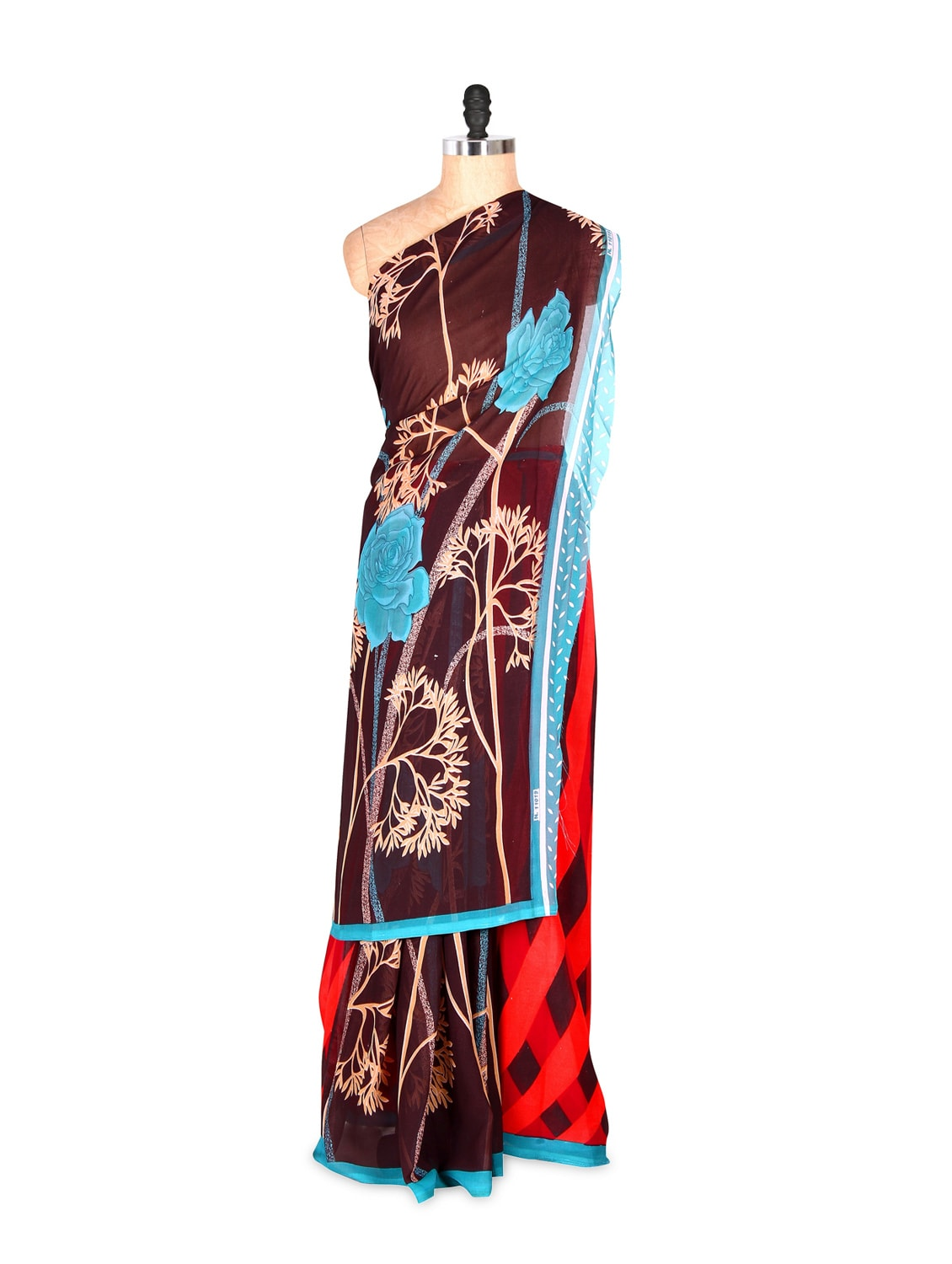 Gorgeous Brown And Red Printed Art Silk Saree With Matching Blouse Piece - Saraswati