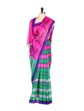 Stylish Green And Pink Floral And Striped Printed Art Silk Saree With Matching Blouse Piece - Saraswati