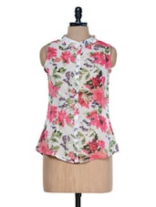 White And Coral Floral Printed Top - Mind The Gap