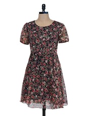 Black Floral Printed Short Sleeve Dress - Mind The Gap