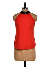 Red Halter Neck Top With Sequin Detailing On Neck - Purplicious