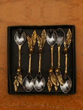 Gold Twigs And  Leaf Spoon (set Of 6) - The Yellow Door