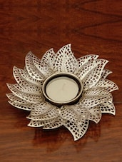 Filigree Flower Glass Candle Stand - The Yellow Door