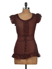 Flirty Brown Frilly Top - Nineteen
