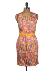 Multi-coloured Sleeveless Dress With Knotted Back - Nineteen