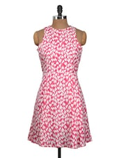Pink And White Heart Print Dress - Nineteen