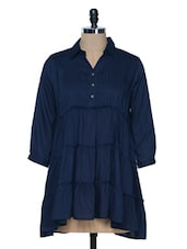 NAVY BLUE PLEAT AND GATHER DETAIL TOP - VAAK
