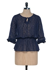 NAVY BLUE TOP WITH AN ELASTIC WAIST - VAAK