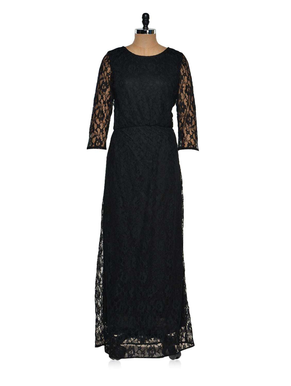 Black Lace Maxi Dress - Purys