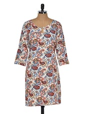 Floral Printed Polyester Dress - Purys
